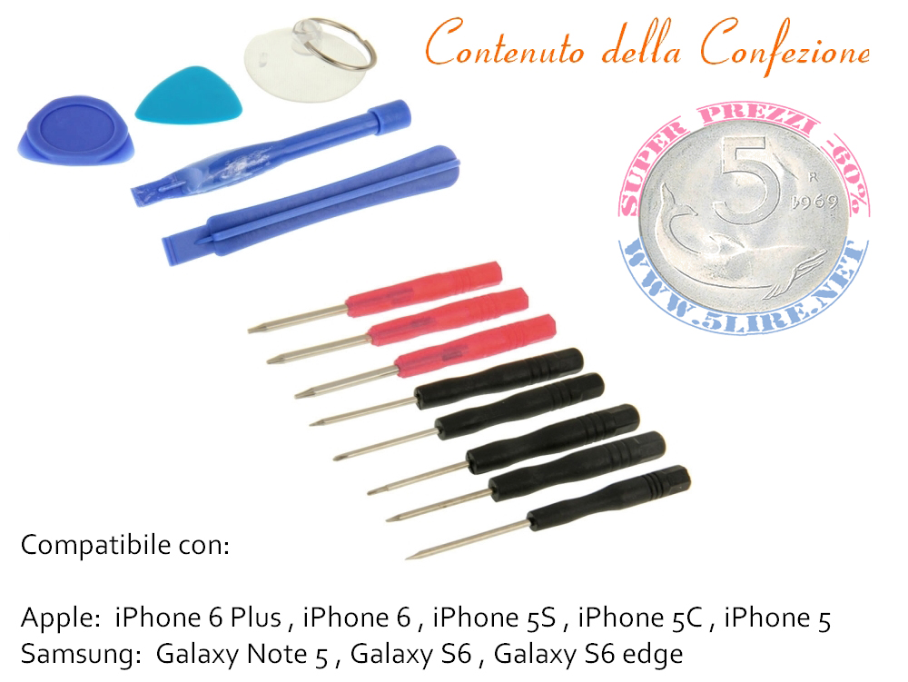 Kit riparazione iPhone Samsung set Cacciaviti universali